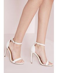 324523e197e4 Lyst - Missguided Barely There Strappy Heeled Sandals White Croc in ...