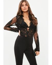 Missguided Black Lace Long Sleeve Plunge Bodysuit in Black - Lyst 1b4909714
