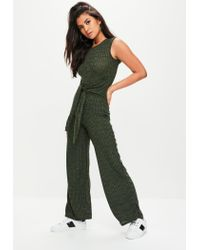 9a68f53cc55 Lyst - Missguided Khaki Tie Waist Rib Jumpsuit in Green