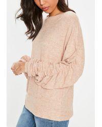 Missguided - Orange Brushed Ruched Sweatshirt - Lyst