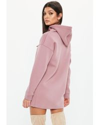 Missguided - Petite Pink Hooded Sweater Dress - Lyst
