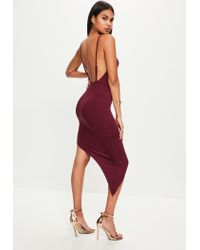 Missguided - Red Burgundy Jersey Asymmetric Hem Bodycon Dress - Lyst