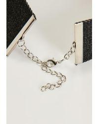 Missguided | Black Denim Diamante Choker Necklace | Lyst
