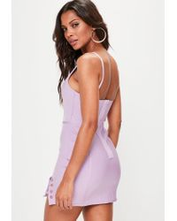 Missguided - Purple Lilac Strappy Bar Detail Bandage Dress - Lyst