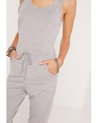 Missguided - Gray Jersey Sleeveless Jumpsuit Grey - Lyst