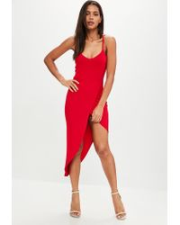 Missguided - Red Jersey Asymmetric Dress - Lyst