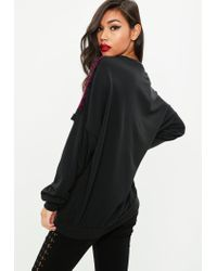 Missguided - Black Devore Velvet Tassel Trim Sweatshirt - Lyst