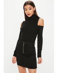 Missguided Black Cold Shoulder High Neck Ribbed Bodysuit in Black - Lyst 09917cfc5