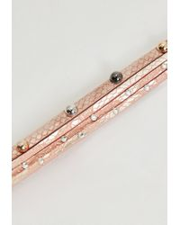 Missguided - Pink Faux Snake Skin Multi Band Choker Necklace - Lyst