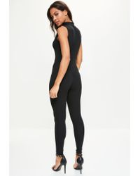 Missguided - Black Fishnet Insert High Neck Jumpsuit - Lyst