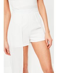 Missguided - White Chiffon Detail Maxi Shorts - Lyst