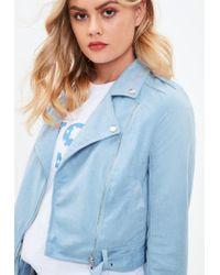 Missguided - Blue Crop Suedette Biker Jacket - Lyst