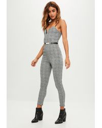 Missguided - Gray Grey Check Belted Jumpsuit - Lyst
