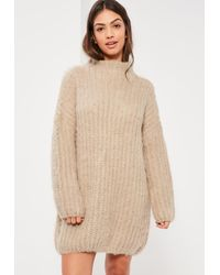 Missguided Natural Nude Brushed Chunky Stitch Mini Sweater Dress