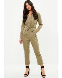 b2eaef4165 Lyst - Missguided Khaki Utility Jumpsuit in Natural