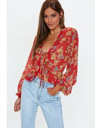 551a13c820c86 Missguided Red Floral Print Tie Front Crop Top in Red - Lyst