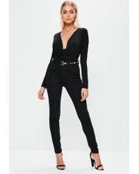 Missguided - Black Cowl Neck Bodysuit - Lyst