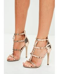 ef7f50da838fdc Lyst - Missguided Rose Gold Studded Gladitator Sandals in Pink