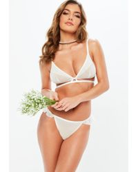 Missguided - White Frill Front Soft Triangle Bra - Lyst