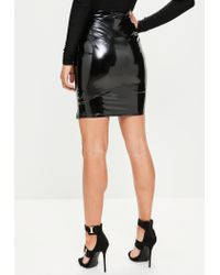 Missguided - Black High Waisted Split Front Vinyl Mini Skirt - Lyst