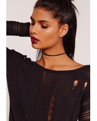 Missguided | Diamante Charm Choker Necklace Black | Lyst