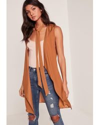 Missguided - Orange Nude Waterfall Tie Neck Sleeveless Waistcoat - Lyst