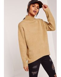 Missguided - Natural High Neck Dip Hem Brushed Sweater Camel - Lyst