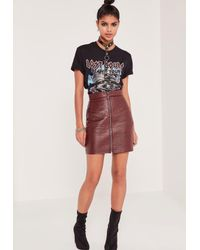 Missguided - Multicolor Quilted Zip Faux Leather Mini Skirt Burgundy - Lyst