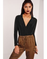 Missguided - Jersey Blouse Bodysuit Black - Lyst