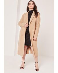 0e2fb4987e8b Missguided Plus Size Double Breasted Faux Wool Coat Camel - Lyst