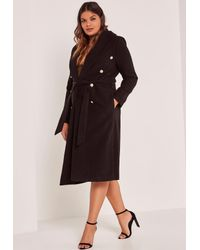 876fb91a5 Lyst - Missguided Black Plus Size Belted Faux Wool Coat in Black