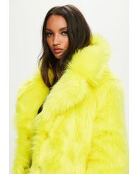 Missguided Yellow Faux Fur Coat With Collar