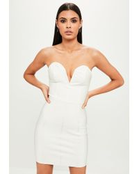Missguided - White Bandage V Bar Bandeau Bodycon Dress - Lyst