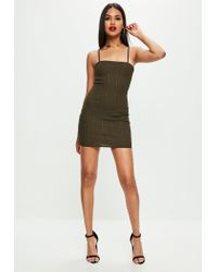 Missguided - Multicolor Khaki Strappy Square Neck Bandage Bodycon Dress - Lyst