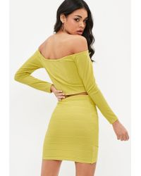 Missguided - Yellow Ribbed Bardot Crop Top - Lyst