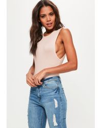 Missguided | Natural Nude Drop Armhole Bodysuit | Lyst