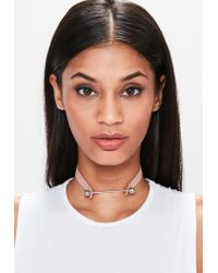 Missguided - Pink Faux Leather Metal Bar Detail Choker Necklace - Lyst