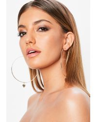 Missguided - Metallic Gold Look Hoop With Heart Charm - Lyst