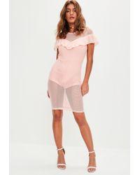 Missguided - Pink Mesh Pencil Midi Dress - Lyst