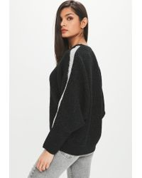 Missguided - Black Ribbed Sparkly Jumper - Lyst