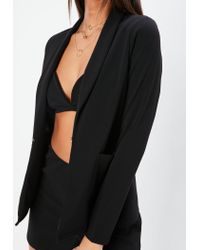 Missguided - Nabilla X Black Stretch Crepe Pocket Blazer - Lyst