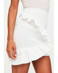 Missguided - White Bonded Scuba Frill Front Mini Skirt - Lyst