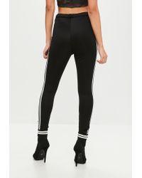 Missguided - Black Double Stripe Leggings - Lyst