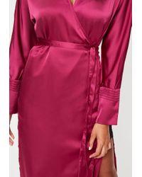Missguided - Pink Tie Belt Wrap Duster Jacket - Lyst