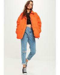 Missguided - Orange Oversized Padded Jacket - Lyst