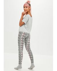 Missguided - Gray Grey Naughty And Nice Pj Set - Lyst