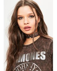 Missguided - Blue 3 Pack Choker Set In Denim And Black - Lyst
