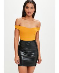 Missguided - Yellow Bardot Crepe Bodysuit - Lyst