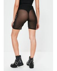 Missguided - Black Mesh Cycling Shorts - Lyst