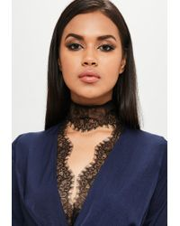 Missguided - Blue Carli Bybel X Navy Satin Lace Wrap Dress - Lyst